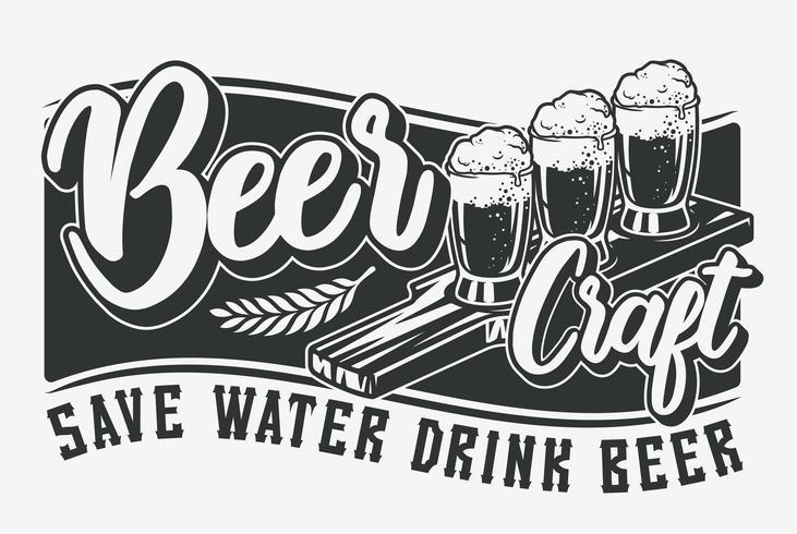 Illustrazione vettoriale con birra e lettering