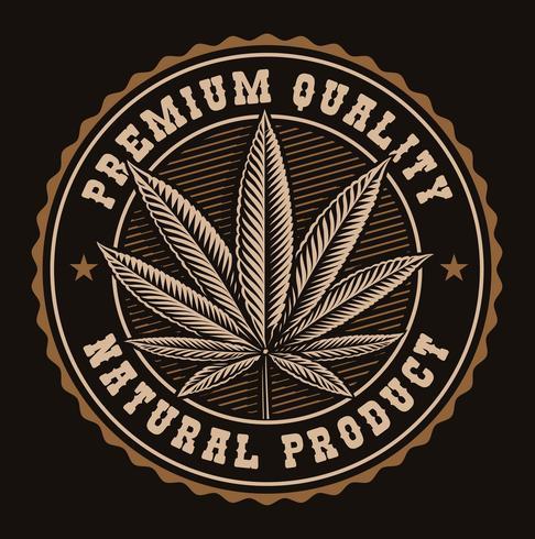 Distintivo d'epoca di una foglia di cannabis. vettore