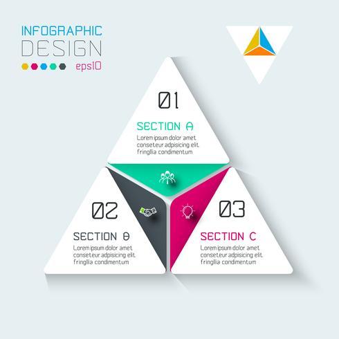 Infographics del triangolo su arte grafica vettoriale. vettore