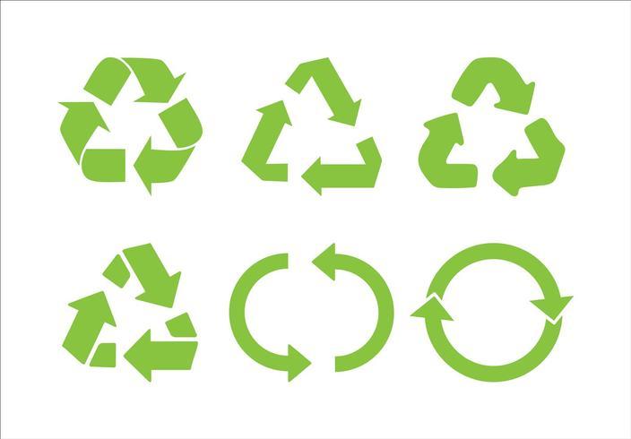 Riciclare il vettore icona. Ricicli riciclando l'illustrazione stabilita di simbolo - vettore