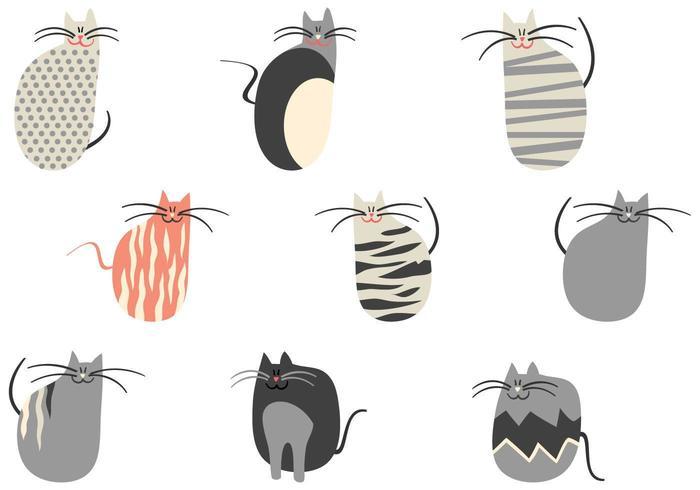 Pacchetto di vettore di gatti dei cartoni animati
