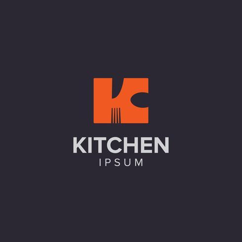 Logo creativo della lettera K dello strumento della cucina vettore