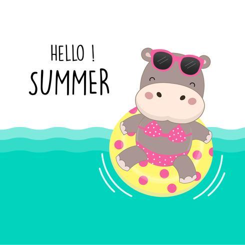 Ciao vacanze estive. Carino sexy ippopotamo indossare bikini e nuotare ring cartoon. vettore