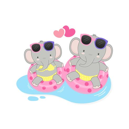 elefanti carini erano bikini e nuotavano ring cartoon. vettore