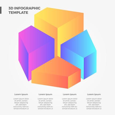 Raccolta di vettore di Infographic di pendenza piana 3D