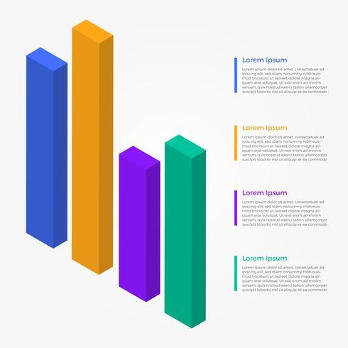 Raccolta di vettore di infografica barra 3D piana