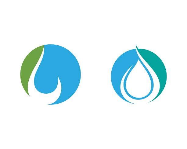 Goccia d'acqua e foglia Logo Template vettoriale illustrazione