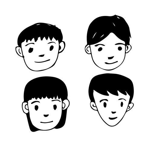 La gente affronta il disegno dell'icona del fumetto vettore