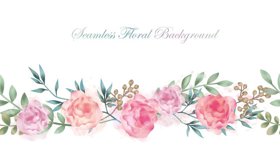 Fondo senza cuciture del fiore dell'acquerello con lo spazio del testo isolato su un fondo bianco. vettore