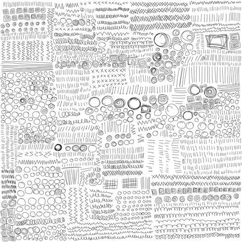 Set di linee disegnate a mano texture Doodle Style. Illustrazione vettoriale di schizzo a mano.