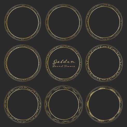Set di cornici rotonde dorate per la decorazione, Cornici rotonde decorative. Illustrazione vettoriale