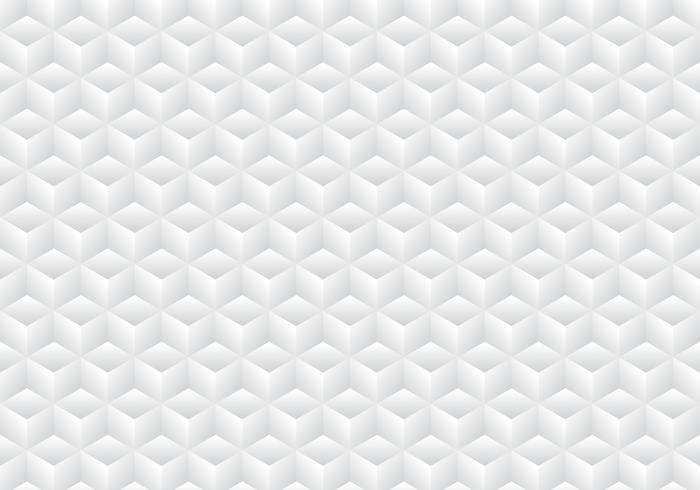 I cubi bianchi e grigi di simmetria geometrica realistica 3D modellano il fondo e la struttura del modello. vettore