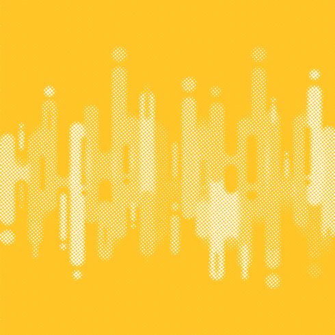 Linee di forme arrotondate giallo astratto fondo di transizione con lo spazio della copia. Elemento stile mezzitoni. vettore