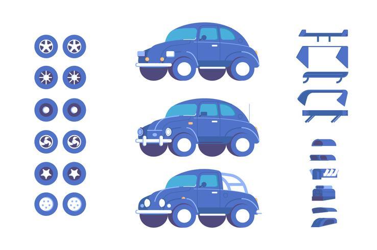 Set di illustrazione di personalizzazione di parti di veicolo auto vettore