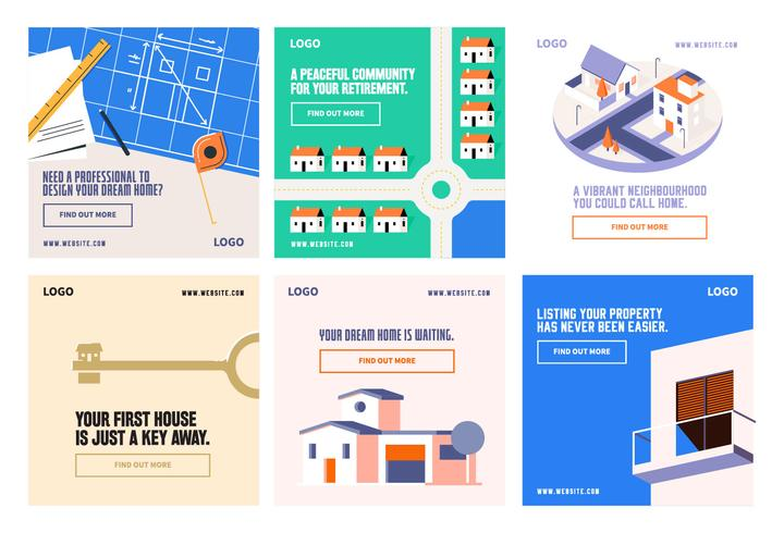 Modello di casa di proprietà casa sistemazione social media post raccolta vettore