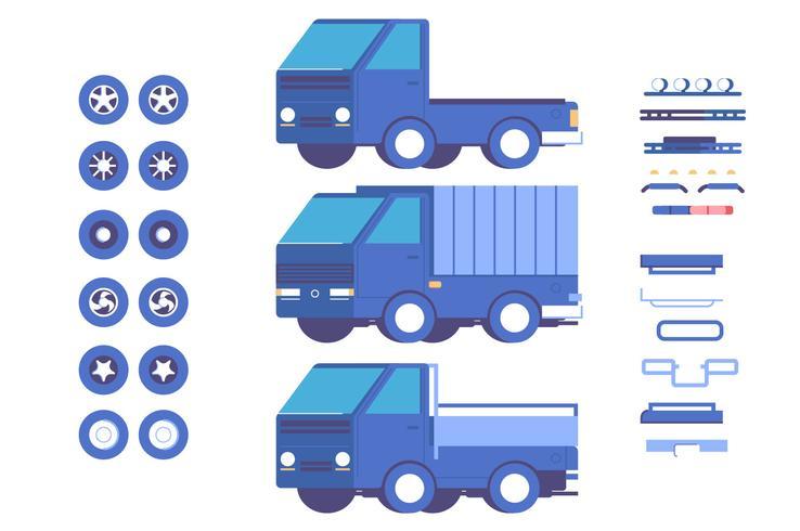 Insieme dell'illustrazione di mod di personalizzazione delle parti del veicolo del camion vettore