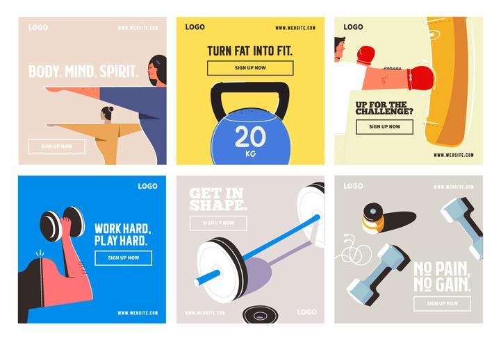 Modello di raccolta di media sociali palestra fitness post vettore