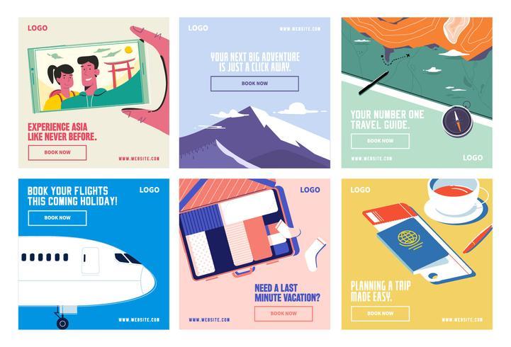 Modello di raccolta di viaggi social media vacanza viaggio vettore