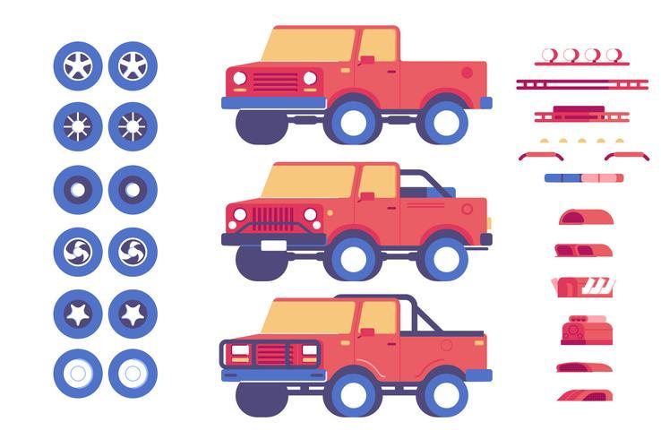 Set di illustrazione di personalizzazione di parti di veicolo jeep vettore