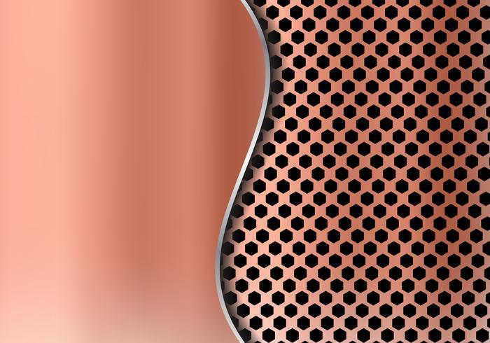 Priorità bassa astratta del metallo di rame fatta dalla struttura del reticolo di esagono con la lamiera sottile della curva. Griglia geometrica nera e rossa. vettore