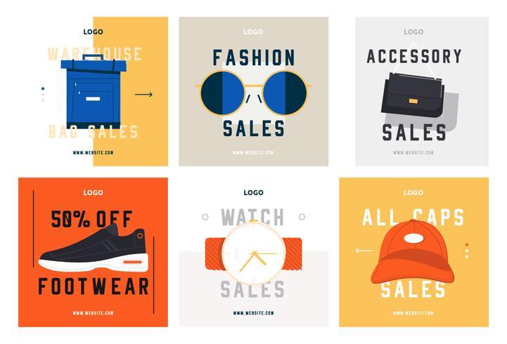 Moda shopping social media post modello di raccolta vettore