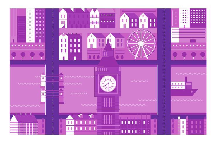 Fondo dell'illustrazione di Londra del punto di riferimento della città vettore