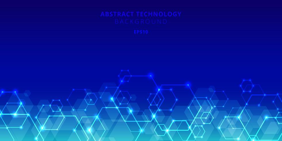 La tecnologia astratta esagoni il modello genetico e sociale della rete su fondo blu. Futuri elementi geometrici modello esagono con nodi glow. Presentazione aziendale per il tuo design con spazio per il testo vettore