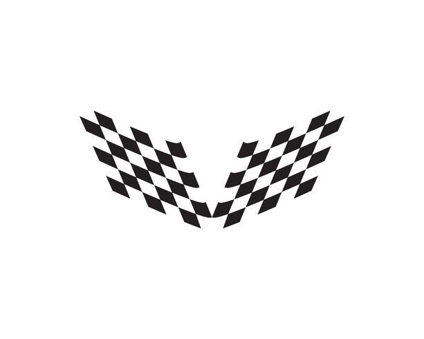 Icona della bandiera della corsa, logo della bandiera della corsa di progettazione semplice vettore