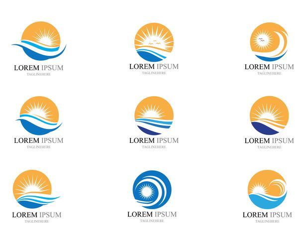 Progettazione dell'illustrazione di vettore dell'icona dell'onda e del sole di acqua