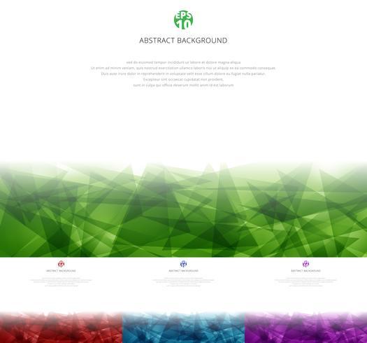 Insieme di sovrapposizione poligonale astratto verde, rosso, blu, viola su fondo bianco con lo spazio della copia. Triangoli geometrici stile moderno. vettore