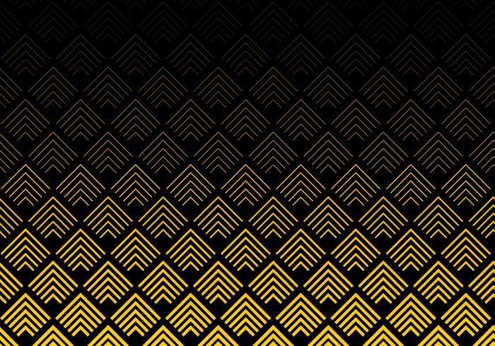 Modello astratto di linee di chevron di colore oro su sfondo nero. Trafori geometrici. vettore