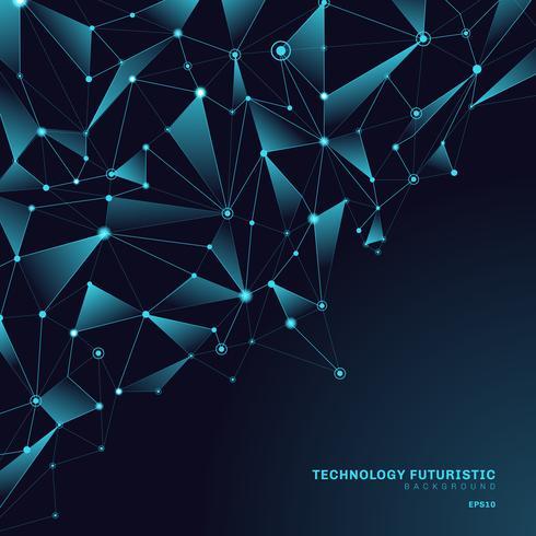Forme poligonali triangoli astratti su sfondo blu scuro composto da linee e punti sotto forma di concetto di tecnologia di pianeti e costellazioni. Connessione internet digitale vettore