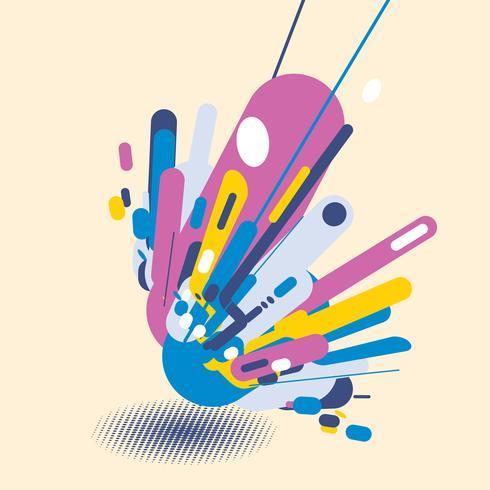 Stile moderno astratto con composizione fatta di varie forme arrotondate in forme di design colorato pop art. Priorità bassa di prospettiva di elementi geometrici con mezzitoni ombra vettore