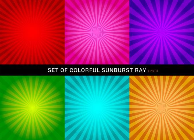 Insieme di retro priorità bassa variopinta lucida dello starburst. Raccolta di astratto sunburst radiale rosso, rosa, viola, verde, blu, arancione sfondi. vettore