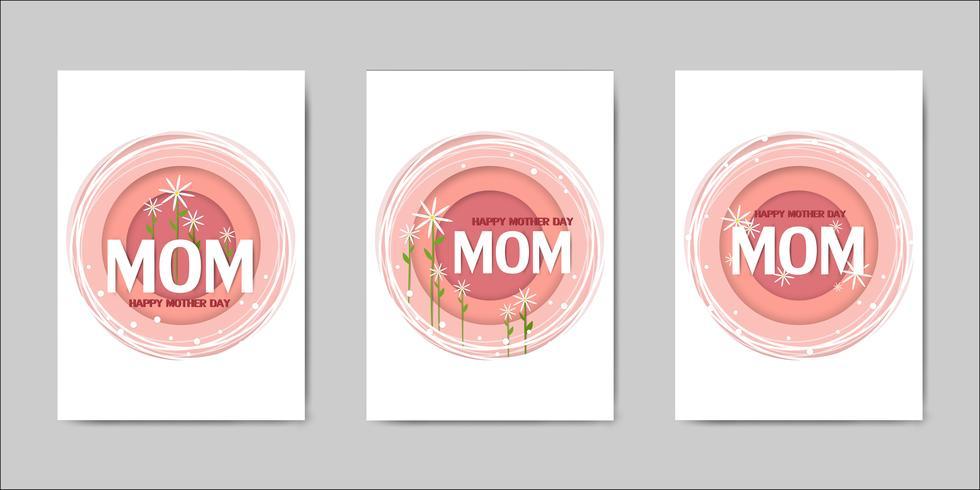 Happy Mothers Day lettering biglietti di auguri vettore