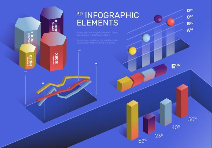 Insieme variopinto moderno di vettore degli elementi di Infographic 3D