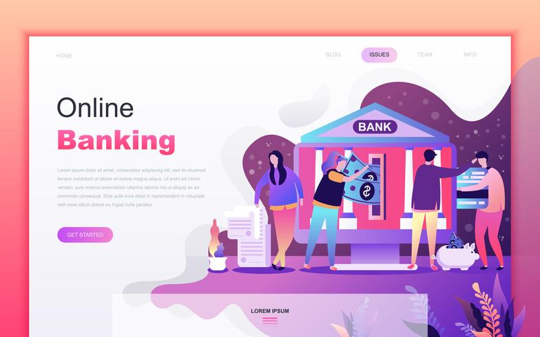 Concetto di design moderno fumetto piatto di Online Banking per lo sviluppo di app sito Web e mobile. Modello di pagina di destinazione. Carattere di persone decorate per pagina web o homepage. Illustrazione vettoriale