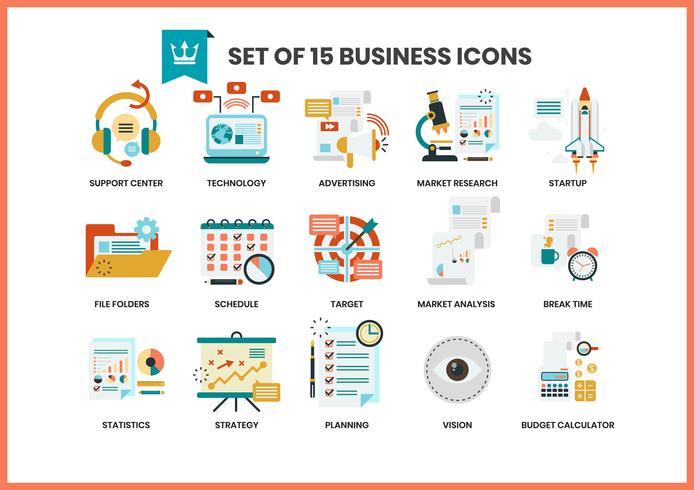 Le icone di affari hanno impostato per il commercio vettore