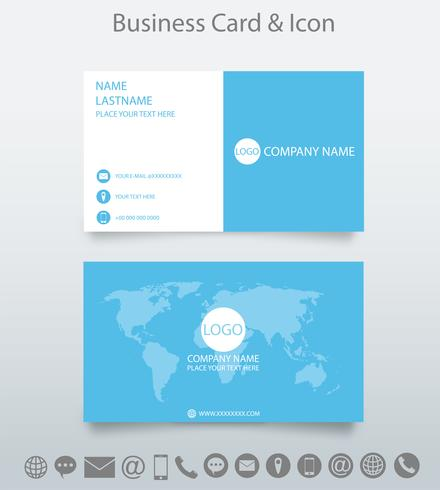 Modello e icona di biglietto da visita creativo moderno. Progettare con World Map Business. sfondo bianco e blu. Vettore. vettore
