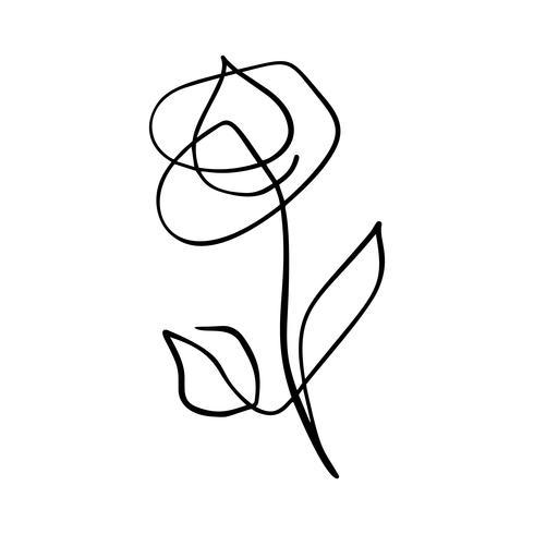Linea continua mano che disegna bellezza calligrafica di logo di concetto del fiore di vettore di rosa. Elemento di design floreale primaverile scandinavo in stile minimal. bianco e nero