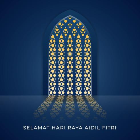 Illustrazione della finestra Moschea Selamat Hari Raya Aidilfitri vettore