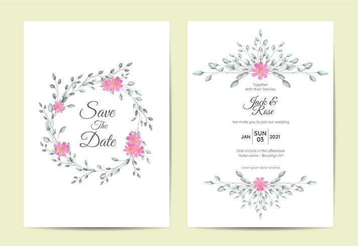 Concetto di progetto d'annata stabilito dell'invito di nozze floreale minimalista della struttura. Modello di schede multiuso come poster, copertina, imballaggio e altro vettore