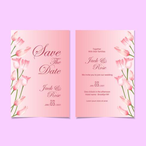 Modello di carta di invito di nozze acquerello tulipani elegante vettore