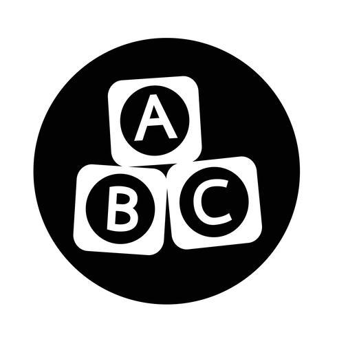 Icona del blocchetto del mattone del giocattolo del bambino di ABC vettore