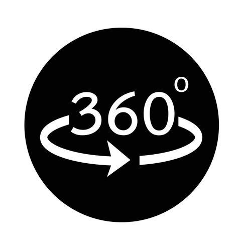 Icona a 360 gradi vettore