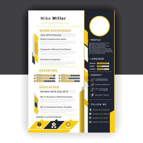 modello di curriculum giallo vettore