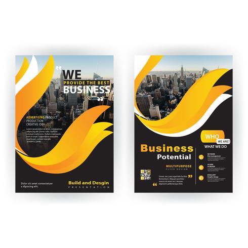 brochure aziendale di forma gialla vettore