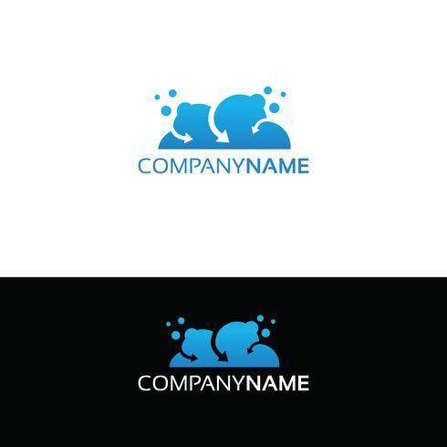Design logo nuvola blu. Concetto di design, simbolo creativo, icona vettore