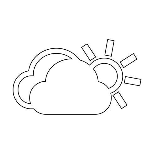 icona del sole nuvola vettore
