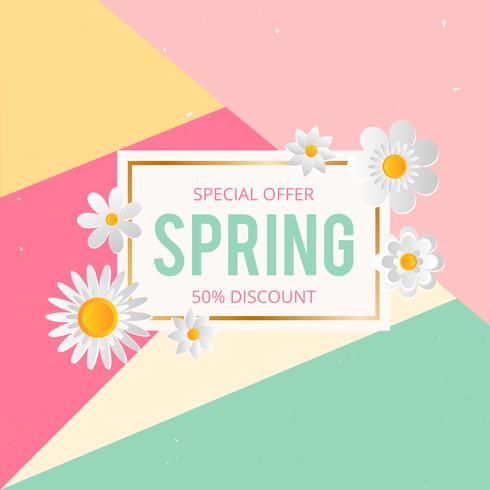 Fondo di vendita di primavera con bel fiore colorato. Vector illustration template.banners.Wallpaper.flyers, invito, poster, brochure, sconto voucher.